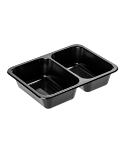726 - Polypropylene 2 compartment TRAY 740ml/550ml, dimensions 227 x 178 x 50mm