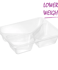 728 – Polypropylene 3 compartment TRAY 500ml/300ml/220ml, dimensions 227 x 178 x 50mm